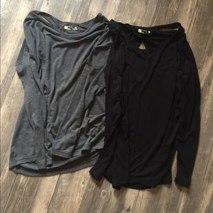 Xersion long sleeve workout top black and grey